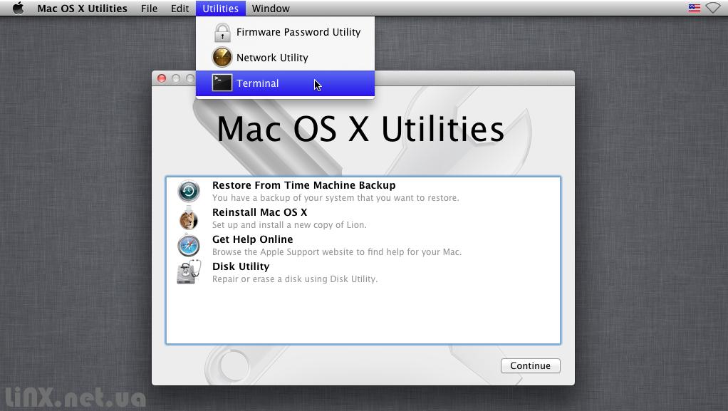 Mac OS Recovery HDD терминал