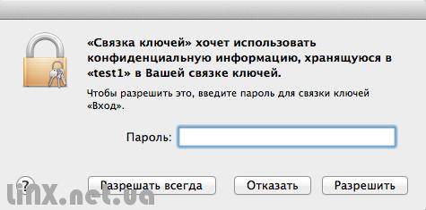 Связка ключей, запрос пароля