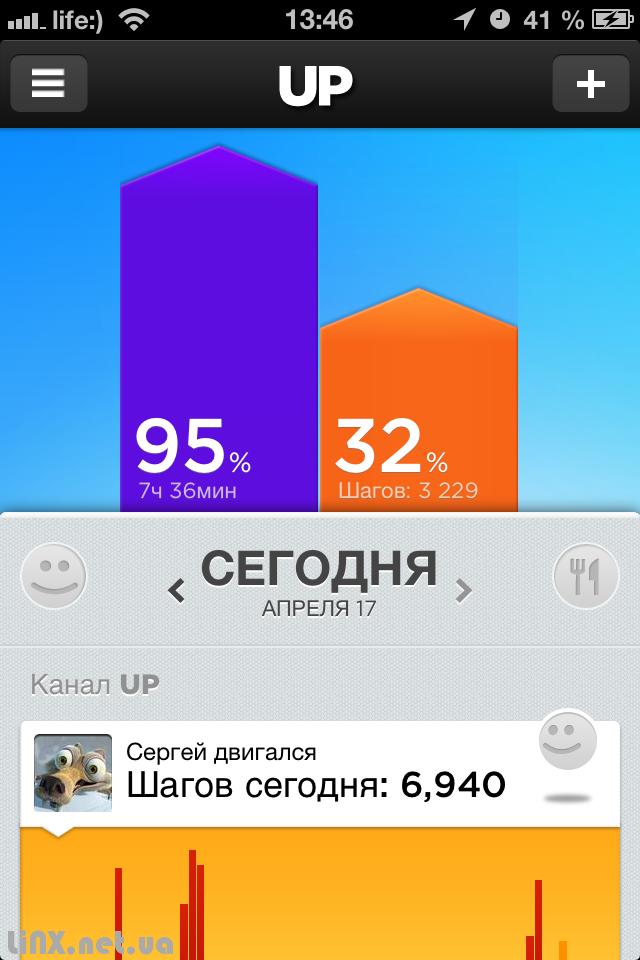 UP by Jawbone домашний экран