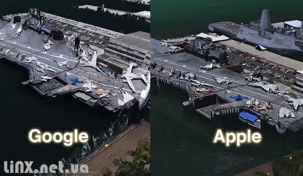 Сравнение Google с Apple картами